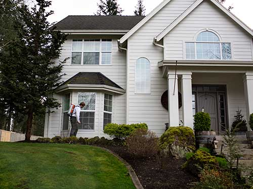 An exterminator spraying the exterior of a beautiful house in Vancouver, WA.