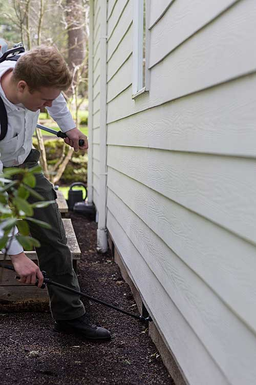 A pest control technician exterminating ants by treating under the siding of a home in Vancouver, WA.