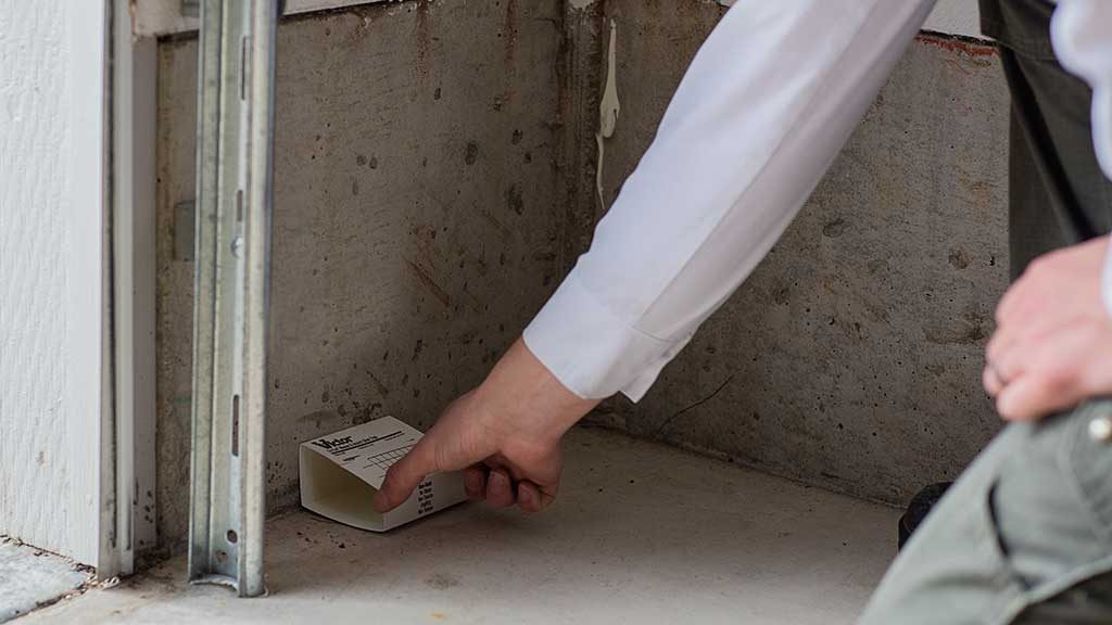 A pest control technician placing a glue board in a garage for mice removal.